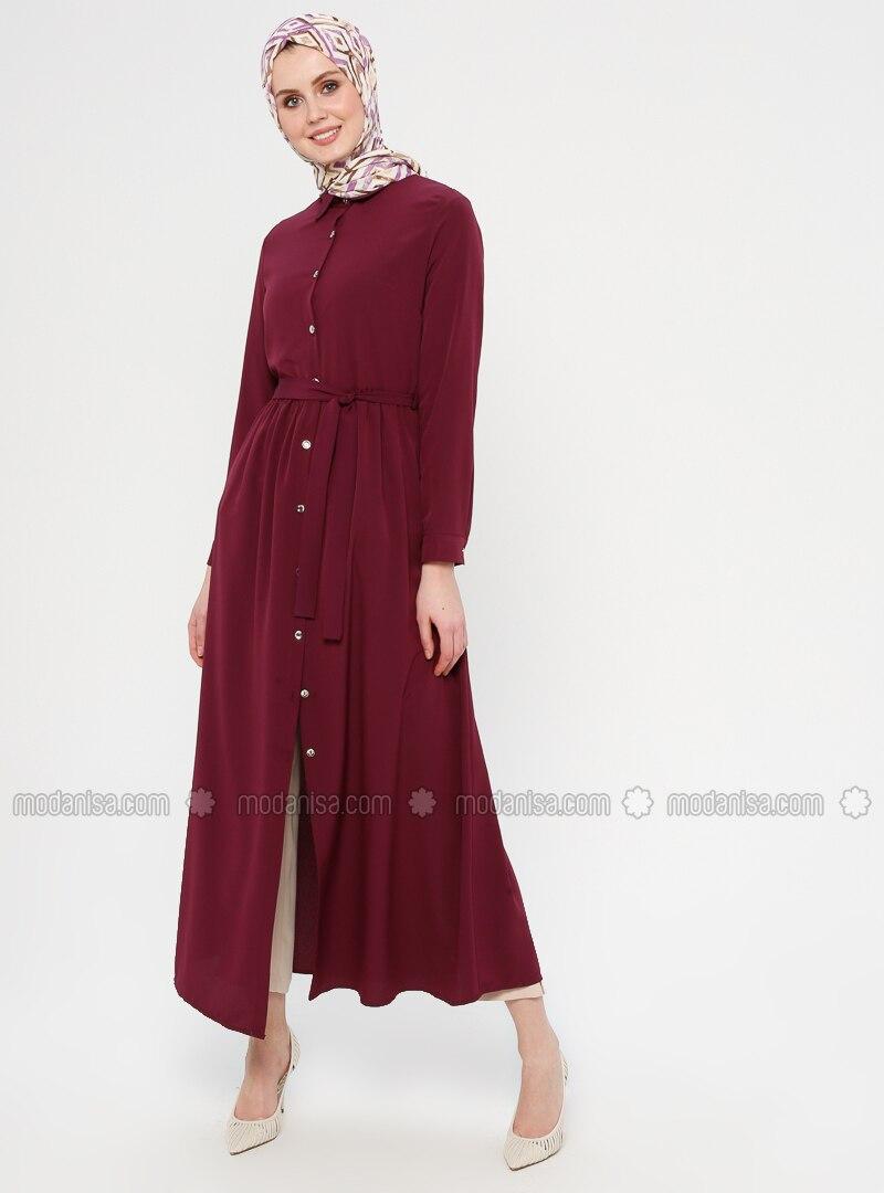 Purple - Point Collar - Unlined - Dress