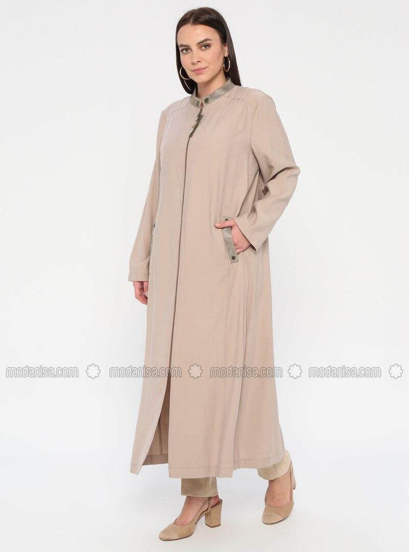 Beige - Unlined - Crew neck - Plus Size Coat