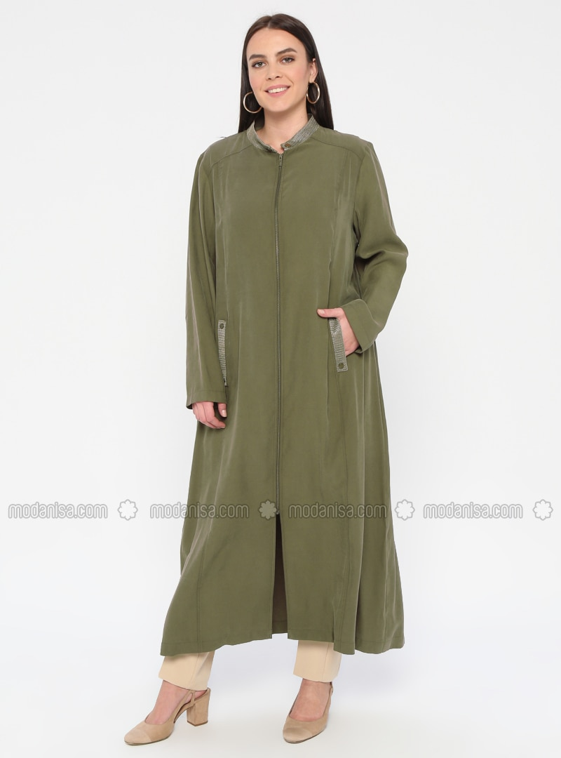 Khaki - Unlined - Crew neck - Plus Size Coat