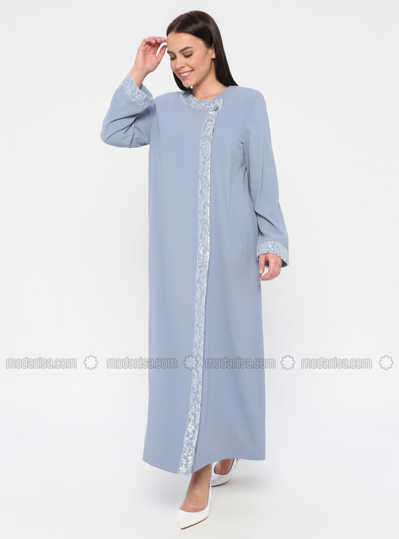 Blue - Unlined - Crew neck - Plus Size Coat