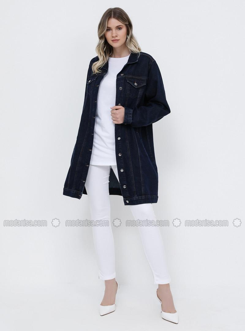 Navy Blue - Point Collar - Unlined - Cotton - Denim - Plus Size Jacket