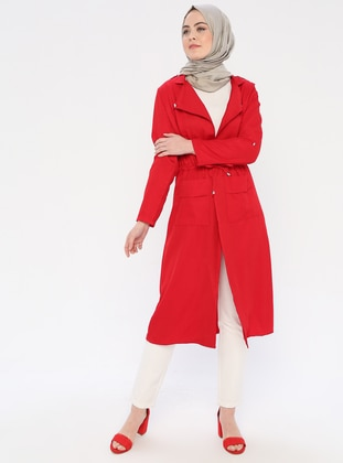 Red - Unlined - Shawl Collar - Topcoat