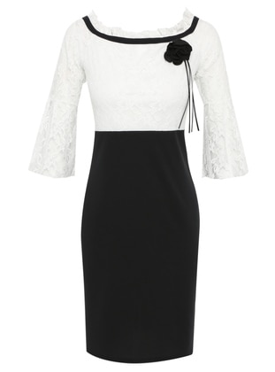 White - Floral - Boat neck - Unlined - Dress