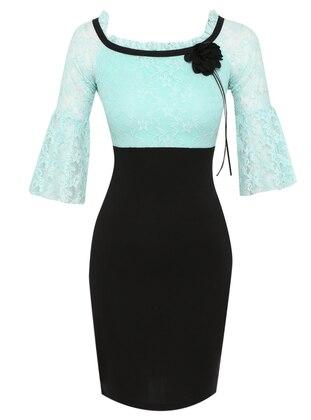 Mint - Floral - Boat neck - Unlined - Dress