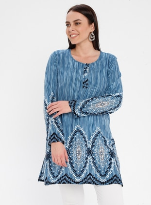 Blue - Stripe - Crew neck - Button Collar - Cotton - Plus Size Tunic