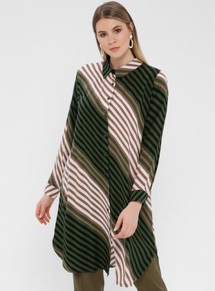 Green - Multi - Stripe - Button Collar - Cotton - Plus Size Blouse