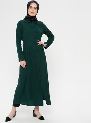 Green - Emerald - Unlined - Round Collar - Topcoat - ZENANE