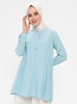 Blue - Baby Blue - Crew neck - Tunic