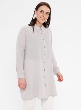 Gray - Button Collar - Cotton - Plus Size Blouse