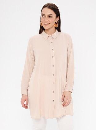 Cream - Button Collar - Cotton - Plus Size Blouse - Genç Style
