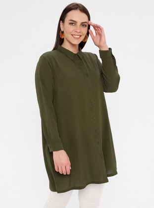 Green - Button Collar - Cotton - Plus Size Blouse - Genç Style