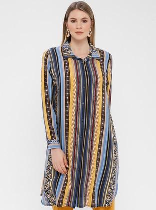 Blue - Multi - Ethnic - Multi - Button Collar - Cotton - Plus Size Blouse
