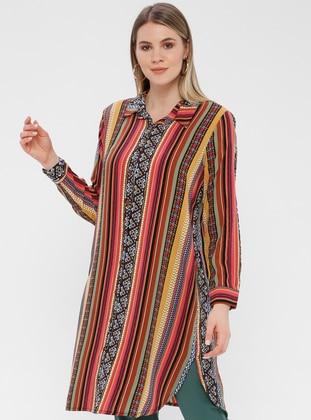 Pink - Multi - Ethnic - Multi - Button Collar - Cotton - Plus Size Blouse