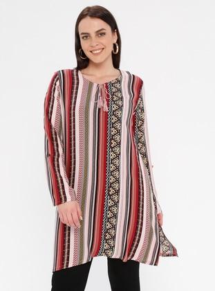 Multi - Maroon - Ethnic - Crew neck - Cotton - Plus Size Tunic