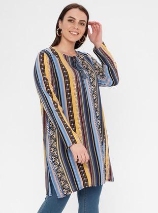 Blue - Multi - Ethnic - Crew neck - Cotton - Plus Size Tunic