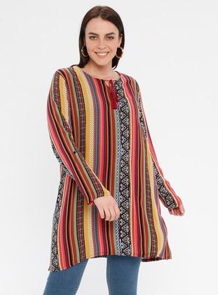 Pink - Multi - Ethnic - Crew neck - Cotton - Plus Size Tunic