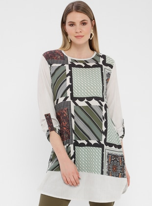 Green - Multi - Crew neck - Cotton - Plus Size Tunic