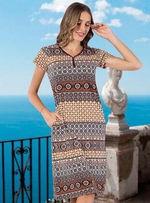 Multi - Multi - V neck Collar - Unlined - Cotton - Dress