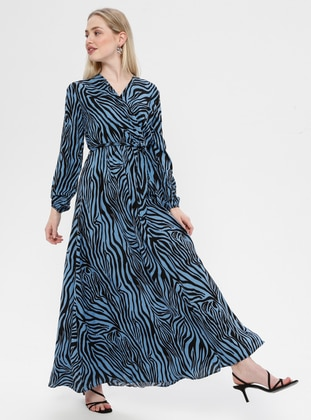 Indigo - Zebra - V neck Collar - Unlined - Dress