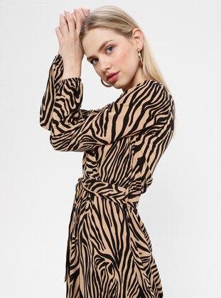 Tan - Zebra - V neck Collar - Unlined - Dress
