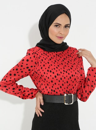 Maroon - Polka Dot - Crew neck - Cotton - Blouses