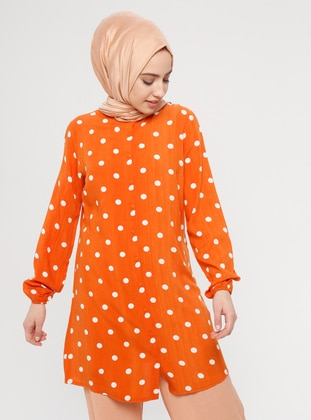 Orange - Polka Dot - Button Collar - Viscose - Tunic