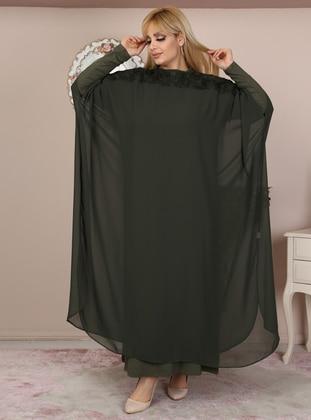 Khaki - Crew neck - Plus Size Evening Suit