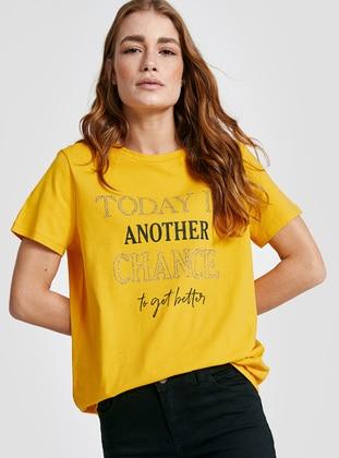 Yellow - Crew neck - T-Shirt - LC WAIKIKI