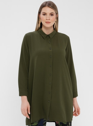 Green - Button Collar - Cotton - Plus Size Blouse
