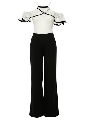Black - White - Unlined - Crew neck - Jumpsuit