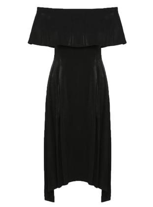 Black - Boat neck - Unlined - Dress