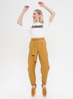 Tan - Viscose - Nylon - Pants