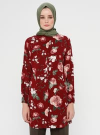 Maroon - Floral - Button Collar - Viscose - Tunic