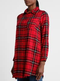 Red - Plaid - Point Collar - Viscose - Tunic
