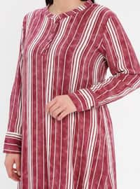 Multi - Powder - Stripe - Button Collar - Cotton - Plus Size Tunic