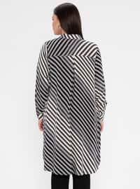 Gray - Multi - Stripe - Button Collar - Cotton - Plus Size Blouse