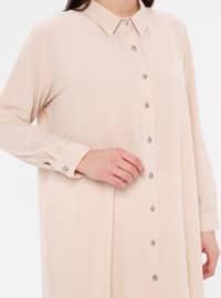 Cream - Button Collar - Cotton - Plus Size Blouse