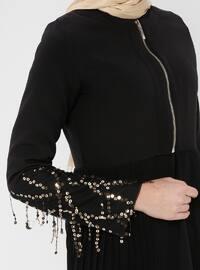 Black - Gold - Unlined - Crew neck - Topcoat