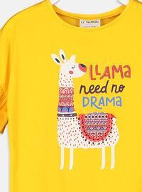 Yellow - Crew neck - Girls` T-Shirt