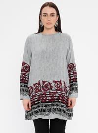 Gray - Crew neck - Cotton - Plus Size Tunic