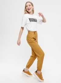 Tan - Viscose - Nylon - Pants