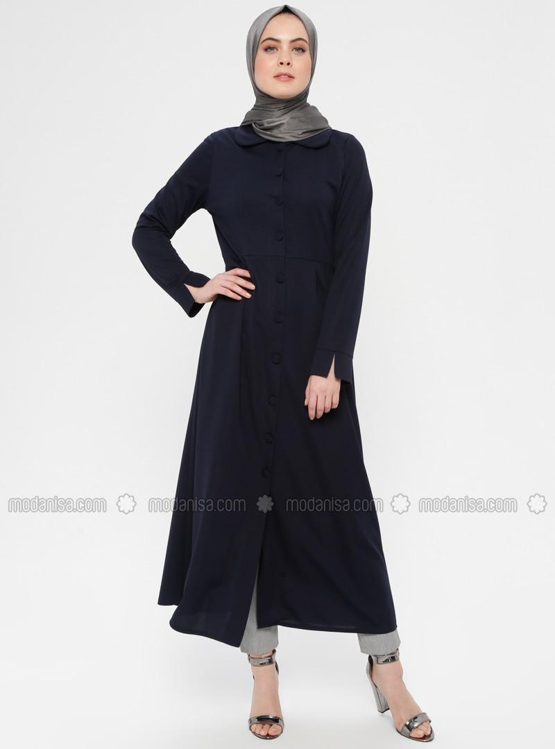 Navy Blue - Unlined - Round Collar - Topcoat - ZENANE