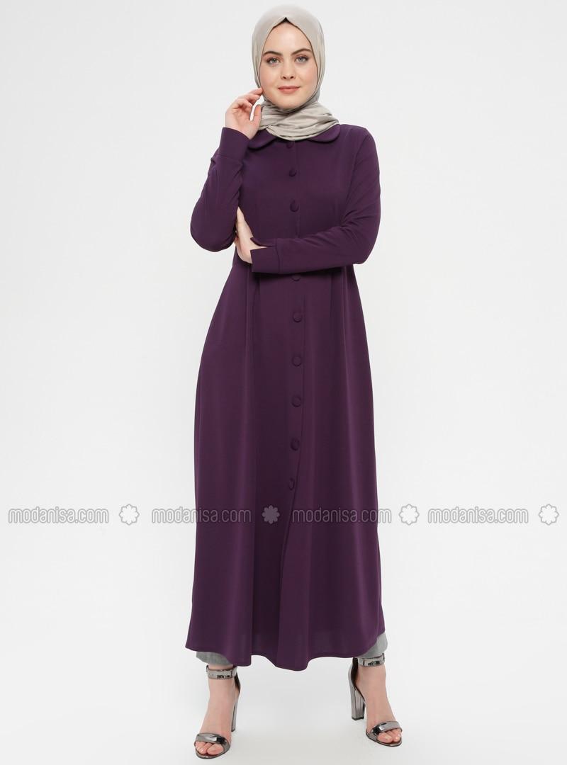 Purple - Unlined - Round Collar - Topcoat - ZENANE