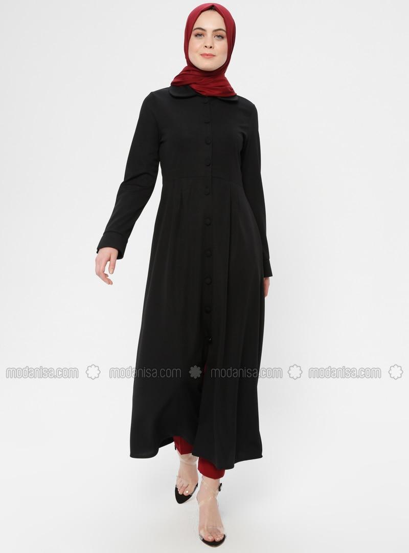 Black - Unlined - Round Collar - Topcoat - ZENANE