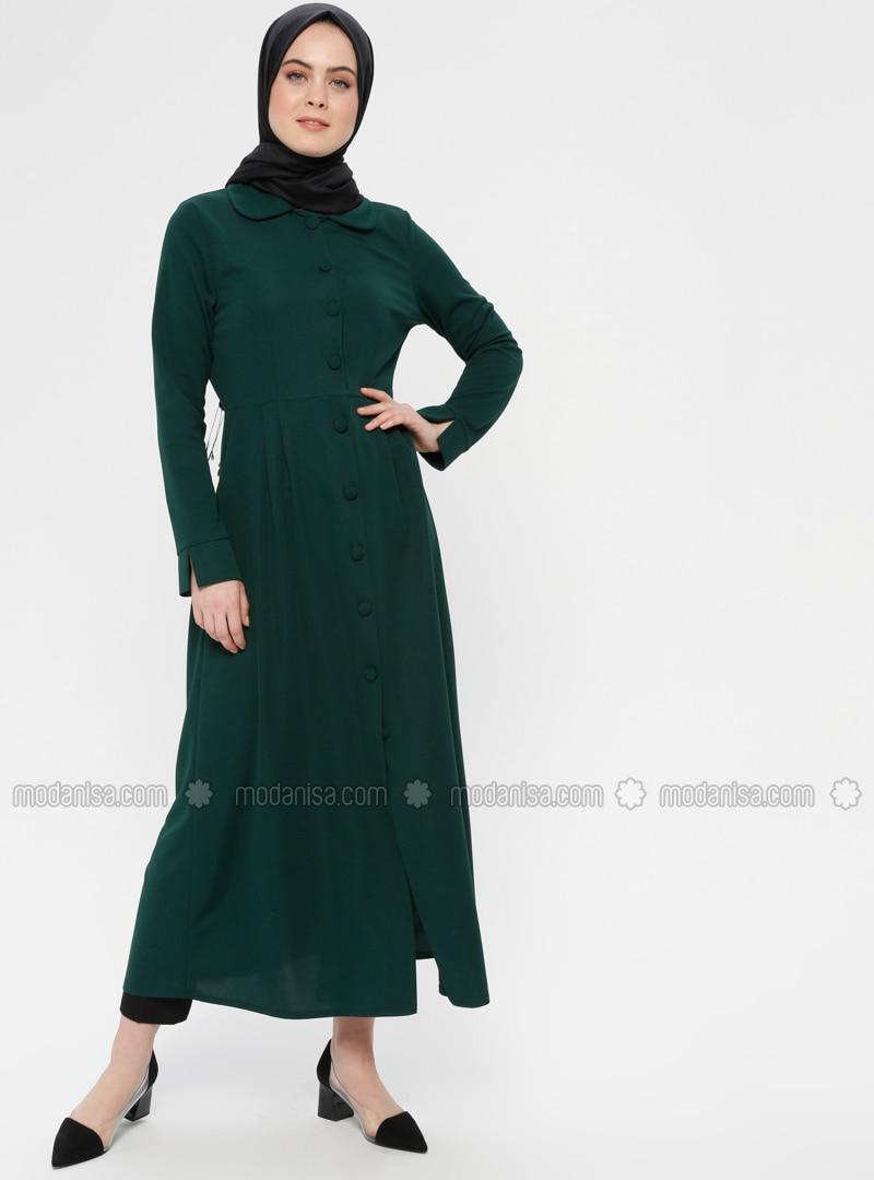 Green - Emerald - Unlined - Round Collar - Topcoat - ZENANE