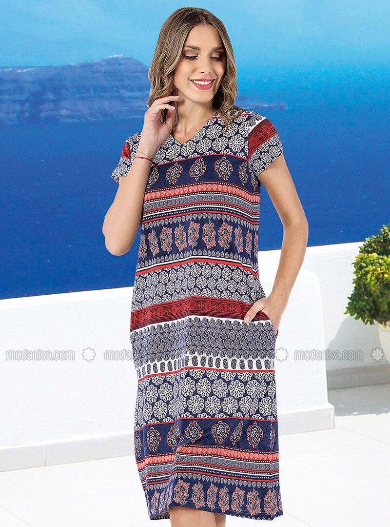 ce3c44b4a896c Kısa Kollu Cepli Elbise - Karışık Renkli