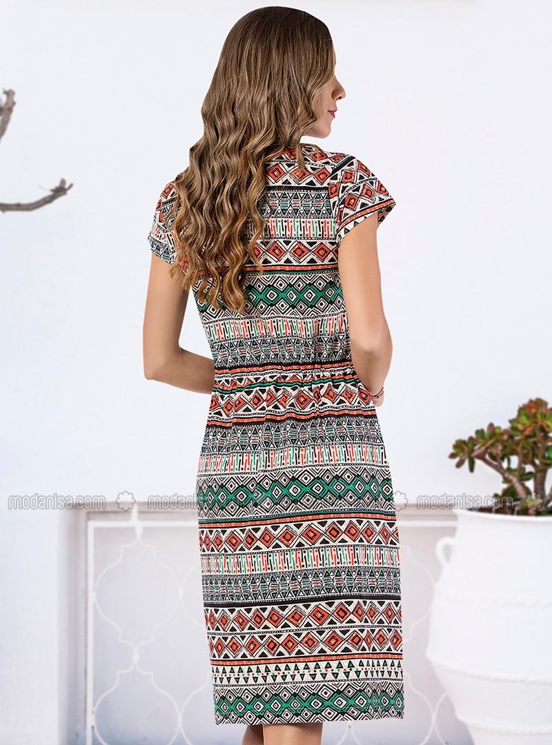 bb19f8f142f4c Kısa Kollu Elbise - Karışık Renkli