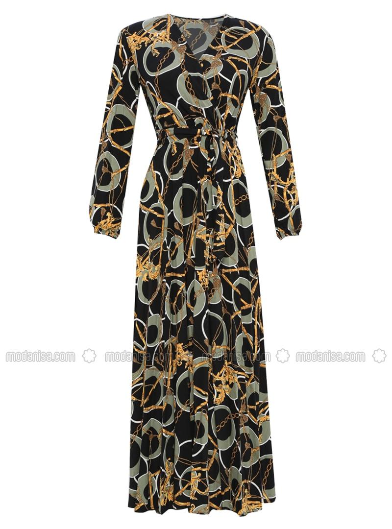 55f08107dc2 Mint - Multi - V neck Collar - Unlined - Viscose - Dress