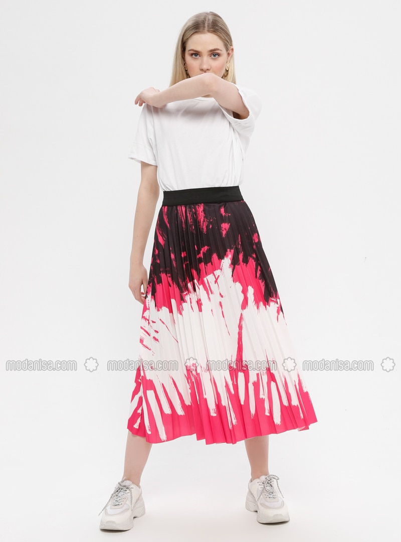 Fuchsia - Multi - Unlined - Skirt