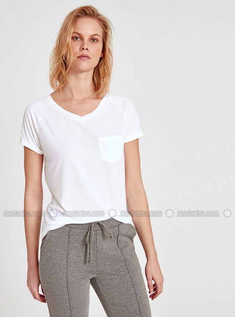 White - V neck Collar - T-Shirt